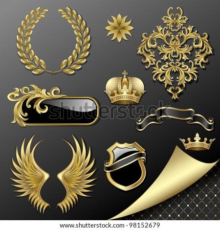 Raster version of vector set of heraldic gold and black design elements
