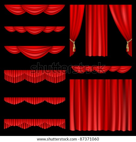 Raster version of vector set of red curtains to theater stage.