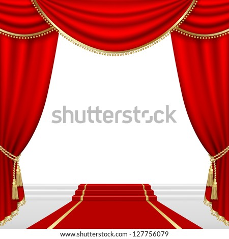 Raster version of vector theater stage  with red curtain.