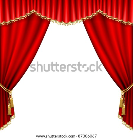 Raster version of vector theater stage  with red curtain. Isolated on white.