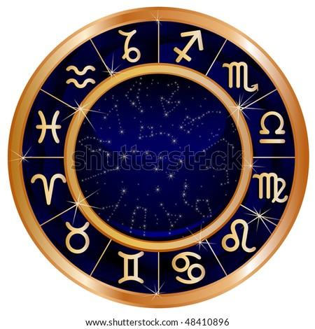 Raster version of vector zodiacal circle with zodiac sign