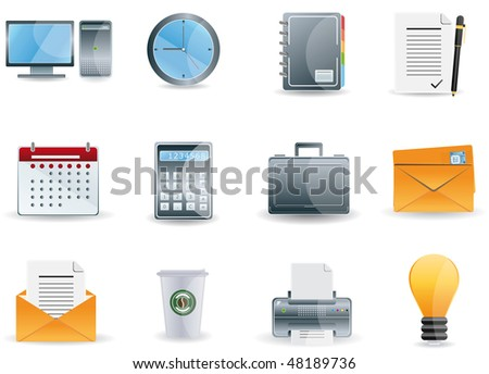Raster version Office & Business icons