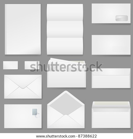 Raster version. Office paper of different types. Illustration on white background.