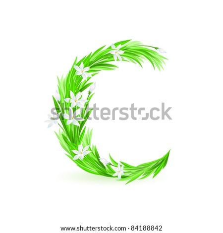 Raster version. One letter of spring flowers alphabet - C. Illustration on white background