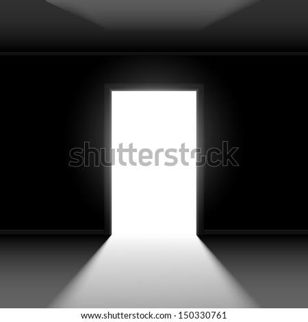 Raster version. Open door with light. Illustration on dark empty background