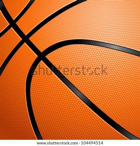 Raster version. Orange Basketball close up illustration for design