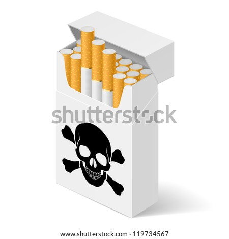 Raster version. Pack of cigarettes with black skull. Illustration of designer on  white background
