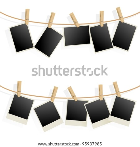 Raster version. Photo Frames on Rope. Illustration on white background