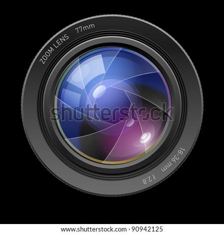 Raster version. Photo lens. Illustration on black background for design
