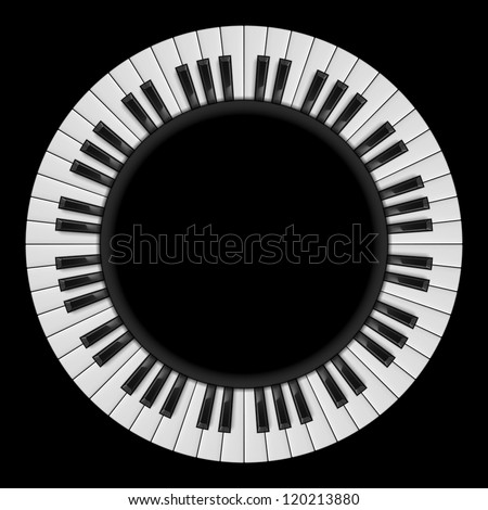 Raster version. Piano keys. Abstract illustration, for creative design on black