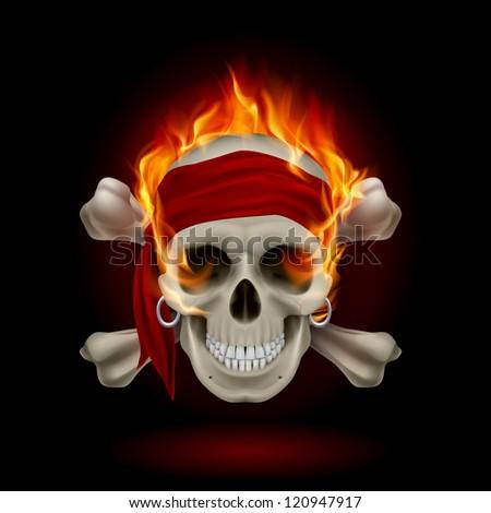 Raster version. Pirate Skull in Flames. Illustration on black