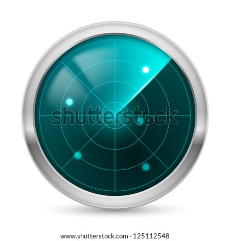 Raster version. Radar icon. Illustration white background for design