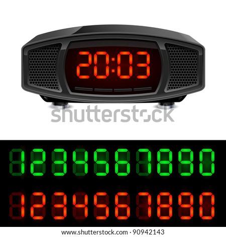 Raster version. Radio alarm clock. Illustration isolated on white background.