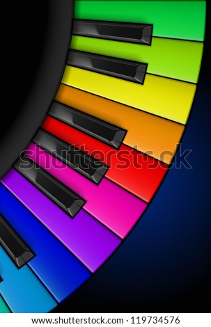 Raster version. Rainbow Piano keys. Vertical Illustration for design