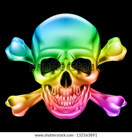 Raster version. Rainbow Skull and Crossbones. Illustration on black background