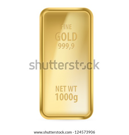 Raster version. Realictick gold bar on the white background