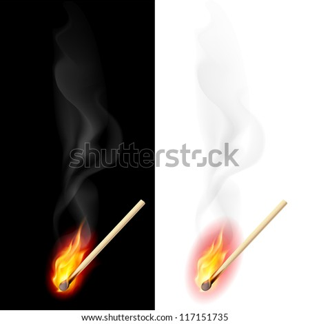 Raster version. Realistic burning match. Illustration on white and black background