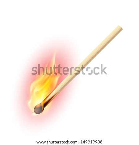 Raster version. Realistic burning match. Illustration on white background