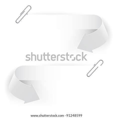 Raster version. Realistic Clips and Arrows. Illustration on white background.