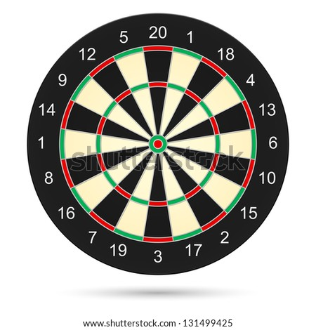 Raster version. Realistic dartboard. Illustration on white background for creative design