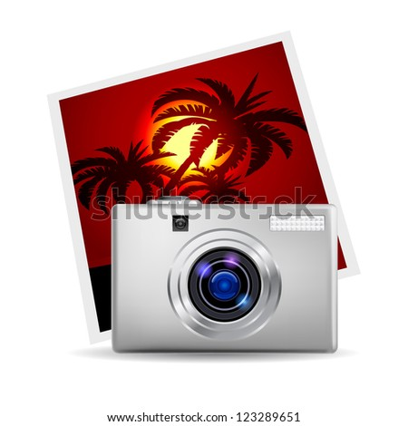 Raster version. Realistic digital camera and photo. Illustration on white background