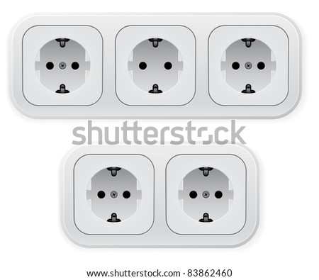 Raster version. Realistic illustration of different forms outlets.  illustration on white background