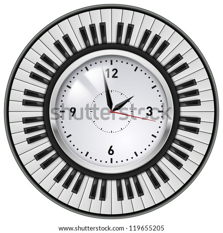 Raster version. Realistic Office Clock and Piano keys. Illustration on white background.