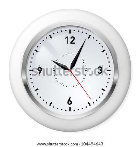 Raster version. Realistic Office Clock. Illustration on white background.