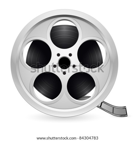 Raster version. Realistic reel of film. Illustration on white background