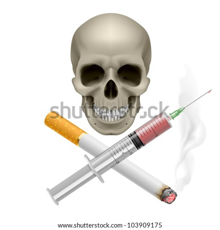 Raster version. Realistic skull with a cigarette and syringe. Illustration on white background