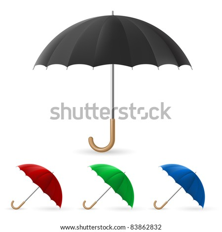Raster version. Realistic umbrella in four colors. Illustration on white background