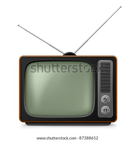 Raster version. Realistic vintage TV. Illustration on white background for design