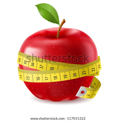 Raster version. Red apple and measure tape. Illustration on white background