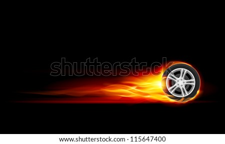 Raster version. Red Burning wheel. Illustration on black background - stock photo