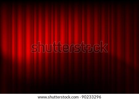 Raster version. Red drapes reflected. Illustration of the designer