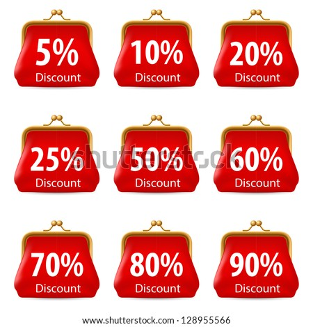 Raster version. Red purse with Discount. Illustration on white background for design - stock photo