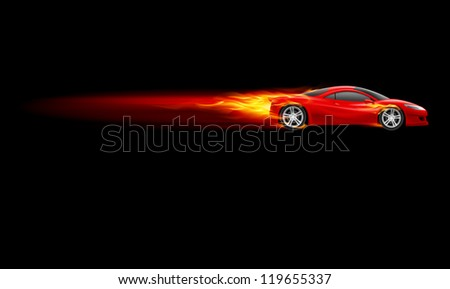 Raster version. Red Sport Car. Burnout design. Illustration on black