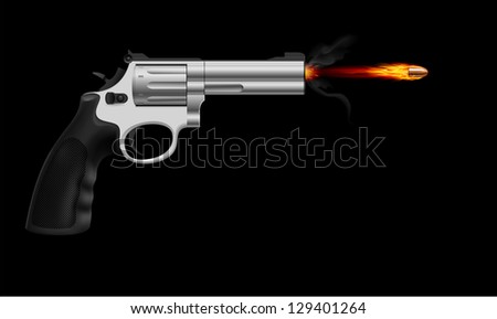 Raster version. Revolver firing bullet.  Illustration on black background