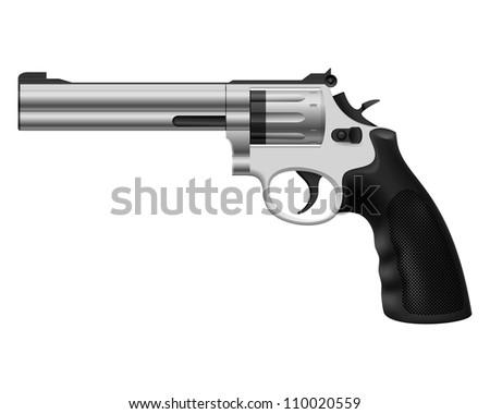 Raster version. Revolver. Illustration on white background for design