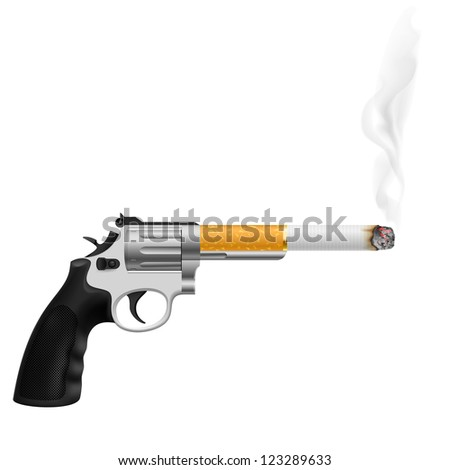 Raster version. Revolver with a cigarette. Illustration on white