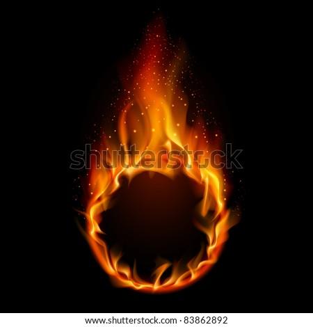 Raster version. Ring of Fire. Illustration on black background for design