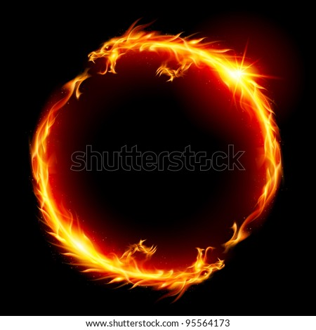Raster version. Ring of Fire of the Dragon. Illustration on white background. - stock photo