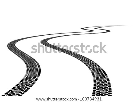 Raster version. Road Tire Track. Illustration on white background - stock photo
