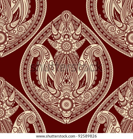 raster version,  seamless eastern style paisley background