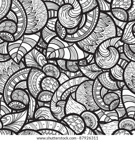 raster version, seamless ethnic doodle monochrome pattern