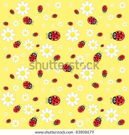 Raster version. Seamless ladybug pattern. Illustration of a designer on a yellow background