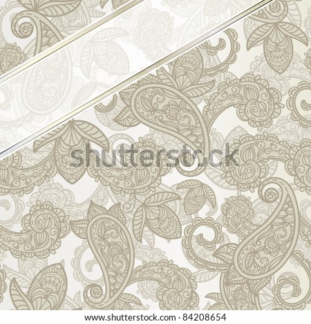 raster version seamless paisley background with ribbon
