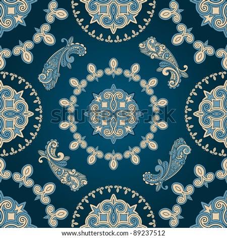 raster version  seamless paisley pattern in blue