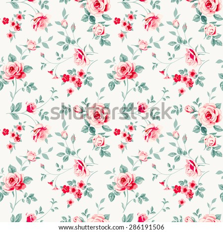 Raster version. Seamless pattern with pink roses.