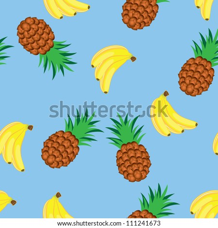 Raster version. Seamless texture of bananas and pineapples. Illustration on blue background